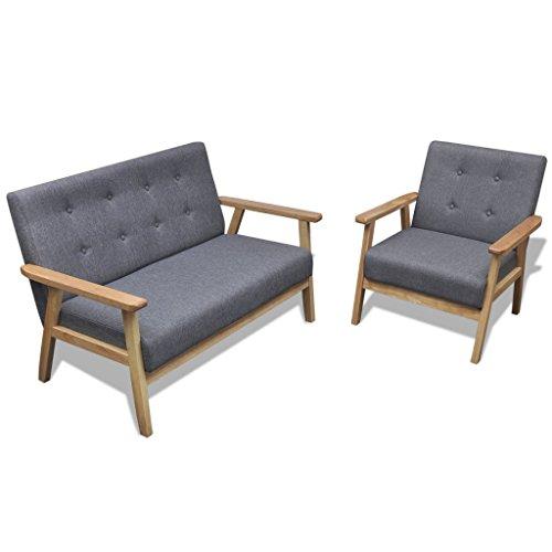 vidaXL Retro Holz Sofaset Couch Sofagarnitur Polstersessel Polstersofa Knopfdeko
