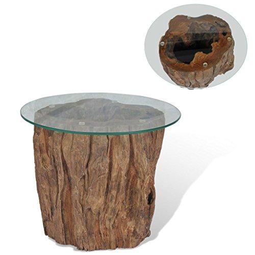 vidaXL Teak Couchtisch Glas Beistelltisch Wohnzimmertisch Kaffeetisch Tisch