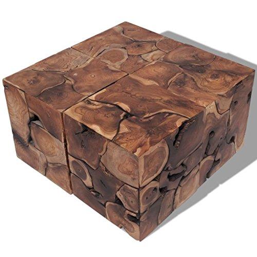 vidaXL Teak Massivholz 4 Hocker Couchtisch Beistelltisch Kaffeetisch Wohnzimmer
