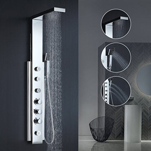 BONADE Thermostat Duschpaneel Duschsäule Duschsystem aus Edelstahl Elegant 6 Massagendüsen Brausepaneel Duschgarnituren mit Regendusche, Handbrause für Badezimmer