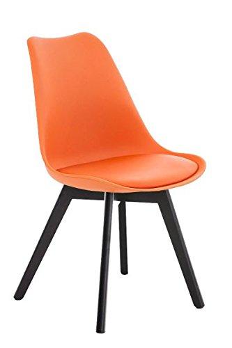 Besucherstuhl, Konferenzstuhl, Wartezimmerstuhl, Esszimmerstuhl, Küchenstuhl, Wartestuhl, Wohnzimmerstuhl, Messestuhl Kunstleder schwarz/orange #Borneo