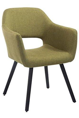 Besucherstuhl, Konferenzstuhl, Wartezimmerstuhl, Esszimmerstuhl, Küchenstuhl, Wohnzimmerstuhl, Wartestuhl, Messestuhl Stoff Holz schwarz/grün #Auckland