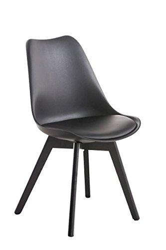 Besucherstuhl, Konferenzstuhl, Wartezimmerstuhl, Esszimmerstuhl, Küchenstuhl, Wohnzimmerstuhl, Wartestuhl, Messestuhl Stuhl Materialmix schwarz #Borneo