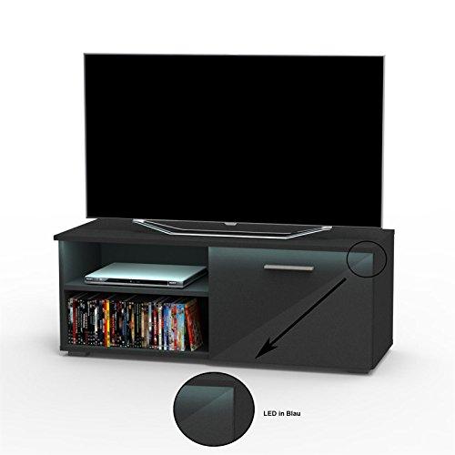 CARO-Möbel TV Lowboard Bank Fernsehtisch Malibu in Schwarz Hochglanz mit LED Beleuchtung 102 cm Breit, 1 Klappe