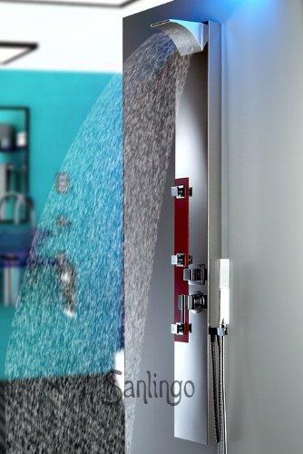 Edelstahl Duschpaneel - Spiegel Duschsäule mit Wasserfall und Regendusche von Sanlingo