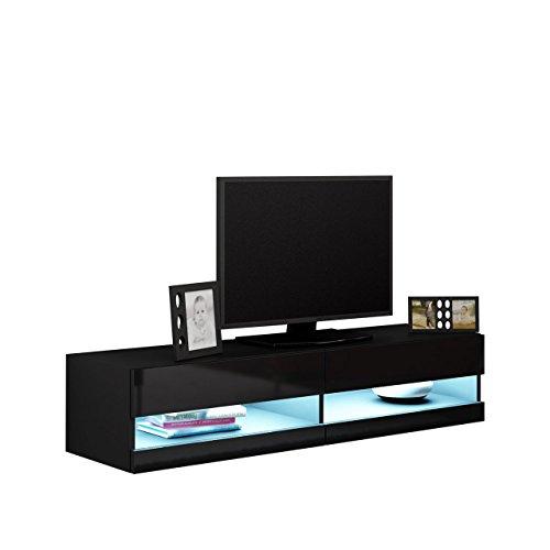 Mirjan24  TV Board Vigo New 140, TV Tische, TV Lowboard, TV Schrank, Fernsehschrank, Hängeschrank, Hochglanz (mit Blauer LED Beleuchtung, Schwarz/Schwarz Hochglanz)