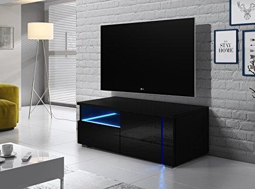 Oxy Single – TV-Lowboard/Fernsehschrank / Fernsehtisch mit Schrankfächern und Offenem Fach auf der Linken Seite (100 cm, in Schwarz mit LED-Beleuchtung)