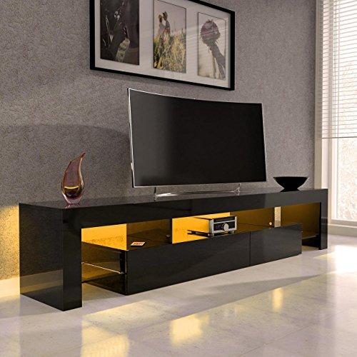 Sanzaro TV Lowboard Board Schrank Fernsehtisch HiFi Hochglanz LED Beleuchtung 188cm Schwarz