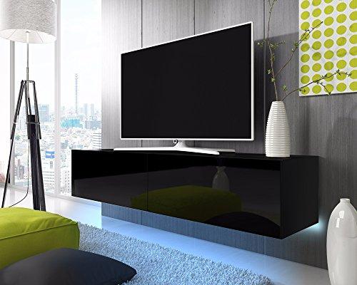 TV Schrank Lowboard Hängeboard SIMPLE mit LED Blau (Schwarz Matt / Schwarz Hochglanz 200 cm)