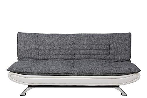 AC Design Furniture 56982 Schlafsofa Jasper Liegefläche, Circa 196 x 123 cm, Sitz- und Rücken Stoff hell grau, Rahmen Lederlook weiß, Füße Metall verchromt