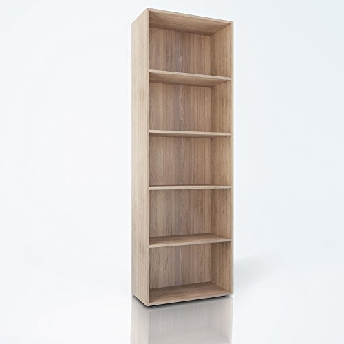 Bücherregal 5 Fächer Regal Standregal Aktenregal Aktenschrank (Eiche Sonoma)