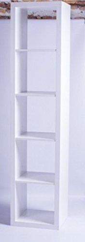 LOFT Regal mit 5 Fächern Bücherregal Wohnzimmer Schlafzimmer Lounge Cube Wandregal kombinierbar Weiß