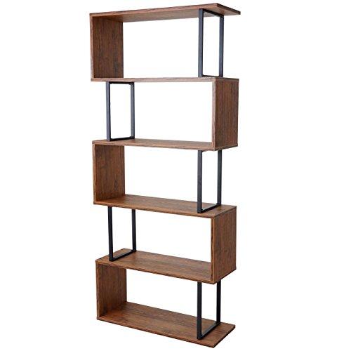 Mendler Bücherregal HWC-A27, Standregal Wohnregal, 183x80cm 3D-Struktur 5 Ebenen ~ Wildeiche