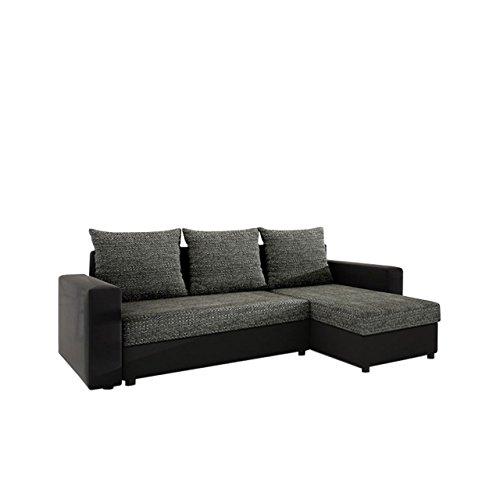 Mirjan24  Ecksofa Top Lux! Sofa Eckcouch Couch! mit Schlaffunktion und Zwei Bettkasten! Ottomane Universal, L-Form Couch Schlafsofa Bettsofa Farbauswahl (Soft 011 + Lawa 06)