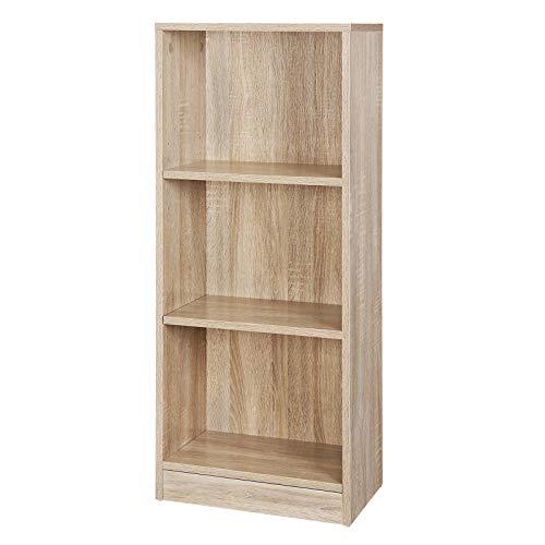 SONGMICS Bücherregal mit 3 Fächer, Verstellbare Einlegeböden, Aktenregal für Wohnzimmer, Kinderzimmer und Heimbüro, Farbton Eiche, 40 x 93 x 24 cm (B x H x T), LBC103H