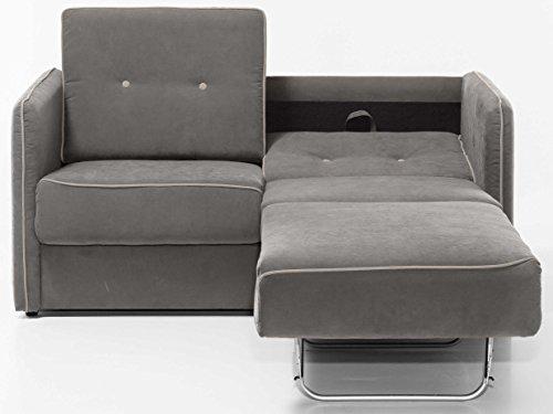 Schlafsofa Merina Grau Blau Weiß Mikrofaser Stoff Sofa Couch Schlafcouch mit Federkern Bettfunktion (Grau)
