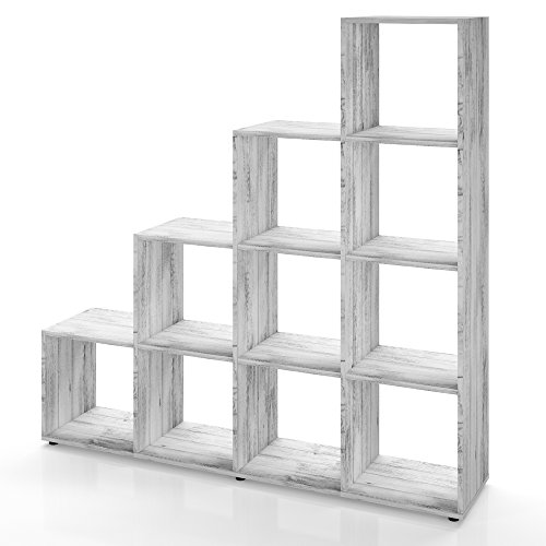 Serina Treppenregal 10 Fächer Grau Beton - Raumteiler Raumtrenner Stufenregal Bücherregal Aktenregal Standregal