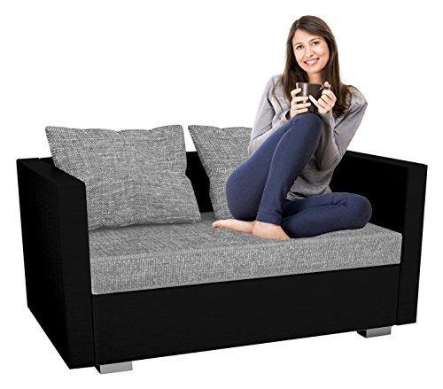 VCM 2er Schlafsofa Sofabett Couch Sofa mit Schlaffunktion Sinsa Schwarz 60 x 122 x 78 cm