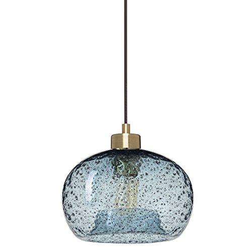 CASAMOTION Mini Pendelleuchte Mundgeblasen Glas Hängelampe, Rustikale Hängeleuchte mit Schwarz Schmirgel, Blau Glasschirm, Messing Gebürstet