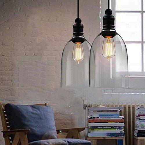 Industrielle Vintage Pendelleuchte E27 LED Hängeleuchte Industrial Decke Glas Deckenbeleuchtung Restaurant Pendelleuchte Transparente Kronleuchter 110-220V