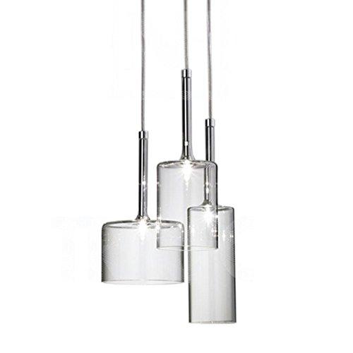MZStech Set 3 Licht Einfache Deckenleuchte Morden Pendelleuchte mit Glas Lampenschirm Basis G4 Glühbirne (Transparent)