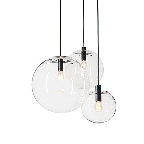 MZStech Sphärische Klassische Glas Pendelleuchte Kreative Einzigen Lichtkopf Glas Lampe, Deckenleuchte Basis E27 Birne (30CM)
