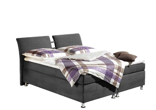 Maintal Boxspringbett Dean, 180 x 200 cm, Microvelour, 7-Zonen-Kaltschaum Matratze H2, grau