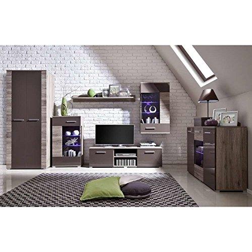 JUSTyou Brico III LED Wohnzimmerset Wohnzimmermöbel Wohnwand Eiche | Braun Hochglanz