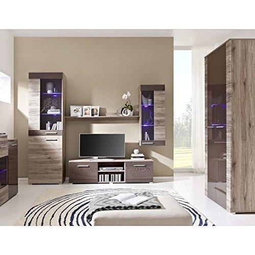JUSTyou Brico VIII LED Wohnzimmerset Wohnzimmermöbel Wohnwand Eiche | Braun Hochglanz