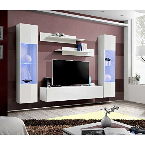 JUSTyou FLI A III Wohnwand Anbauwand Schrankwand (HxBxT): 170x260x40 cm Weiß Matt/Weiß Hochglanz