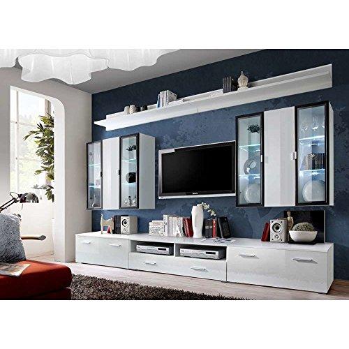 JUSTyou ICALIND Wohnwand Anbauwand Schrankwand (HxBxT): 190x300x45 cm Weiß Matt/Weiß Hochglanz