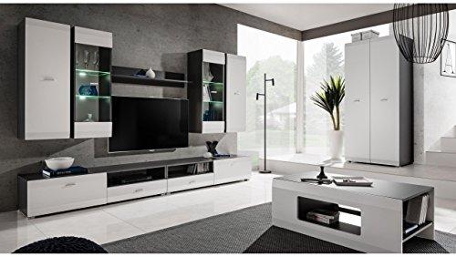 JUSTyou Mosel Wohnzimmerset Wohnwand Wohnzimmermöbel Graphit Matt | Weiß Matt