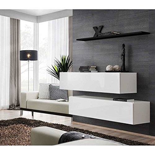 JUSTyou SWOTCH SB II Wohnwand Anbauwand Schrankwand (HxBxT): 110x130x30 cm Weiß Schwarz Matt/Weiß Hochglanz