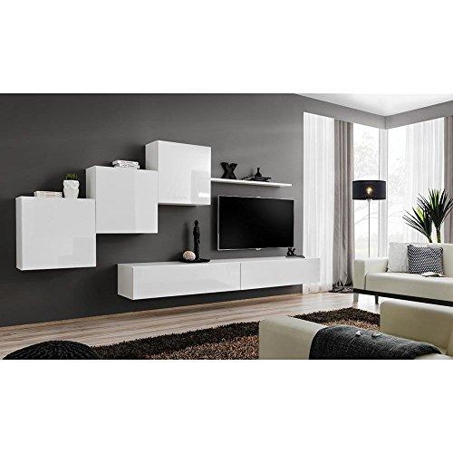 JUSTyou SWOTCH X Wohnwand Anbauwand Schrankwand (HxBxT): 160x330x40 cm Weiß Matt/Weiß Hochglanz