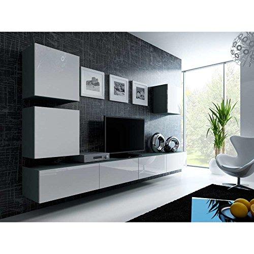 JUSTyou Vago XXII Quadrat Wohnwand Anbauwand Schrankwand Grau Matt | Weiß Hochglanz