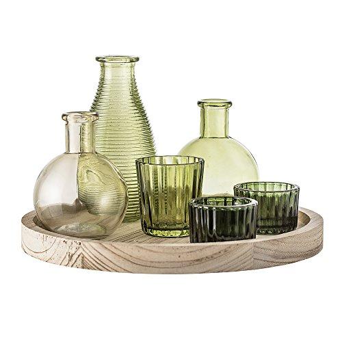 Bloomingville Holztablett mit Gefäßen und Vasen, 7-teilig, grün