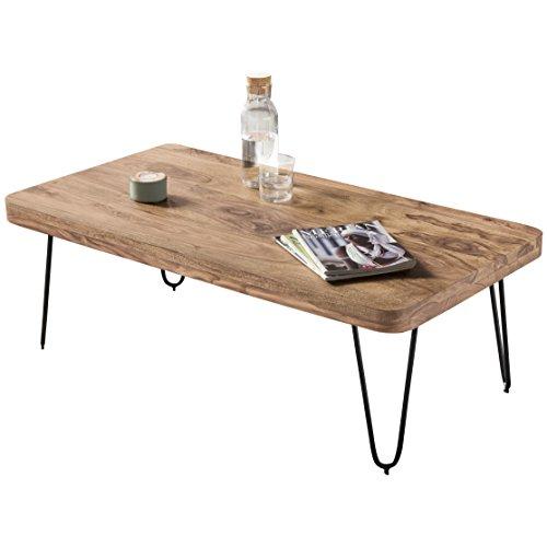 WOHNLING Couchtisch Massiv-Holz Akazie 115 cm breit Wohnzimmer-Tisch Design Metallbeine Landhaus-Stil Beistelltisch Natur-Produkt Wohnzimmermöbel Unikat modern Massivholzmöbel Echtholz rechteckig